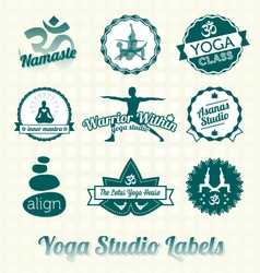 Yoga Class Labels and Icons vector image vector image