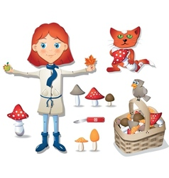 Cute little girl - mushroomer vector image vector image