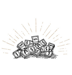 heap of money hand drawing vector image vector image