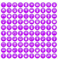 100 smart house icons set purple vector image vector image