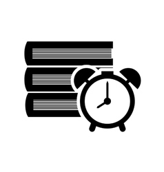 Book and alarm clock icon vector image