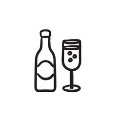 champagne bottle and two glasses sketch icon vector image