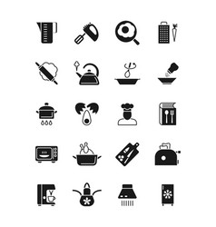 cooking and kitchen equipment black silhouette vector image