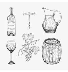 Creative sketch of wine elements vector image vector image