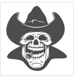 Skull in cowboy hat - gangster vector image vector image