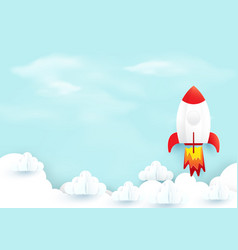 space rocket launch over sky clouds start up vector image