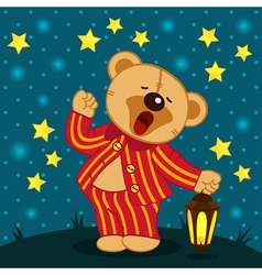 teddy bear in pajamas yawns vector image