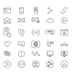 30 line icons of social vector image