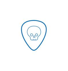 color line rock emblem with skull symbol design vector image vector image