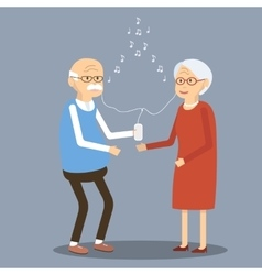 Elderly Couple Listening to Music in the vector image vector image