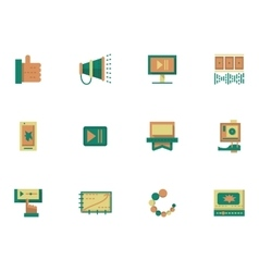 Flat simple icons for video blogging vector image