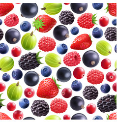 realistic berries seamless pattern vector image