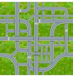 Road junctions on grass background seamless vector image vector image