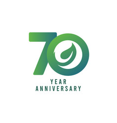 70 years anniversary leaf template design vector