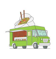 asian food truck with noodle wok with chopstick vector image