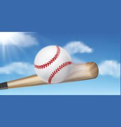 Baseball bat hitting ball 3d realistic vector