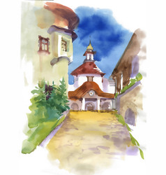 Beautiful church building in small town vector