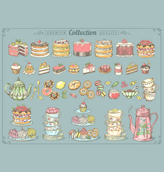 big collection pastries and tea vector image