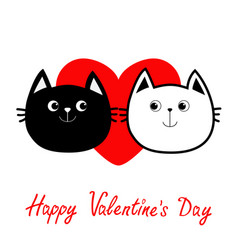 black white contour cat head couple family icon vector image