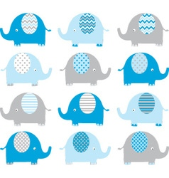 Blue Cute Elephant Collections vector