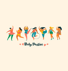 Body positive happy plus size girls and active vector