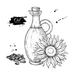 Bottle of sunflower oil with flower and heap vector