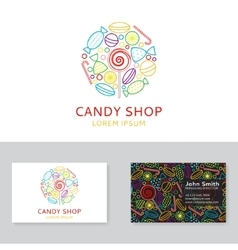 Candy shop logo and business card vector