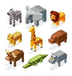 Cartoon 3D isometric african animals vector