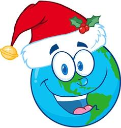 Cartoon earth with santa hat vector