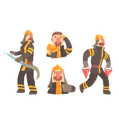 Cartoon firefighter character doing his job with vector