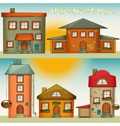 Cartoon Houses Set vector image