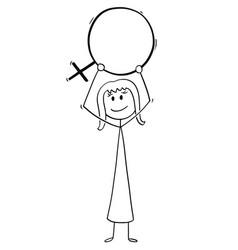 cartoon woman holding female sex symbol vector image