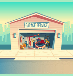 cartoon workshop with mechanic crew car vector image