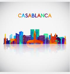 casablanca skyline silhouette vector image