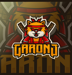 cat mascot esport logo template vector image