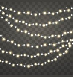 christmas lights xmas glowing white and yellow vector image