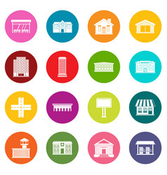 City infrastructure items icons many colors set vector