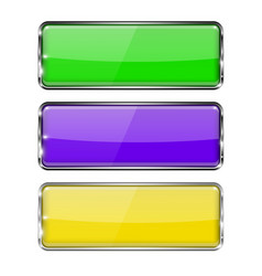 Colored rectangle buttons green violet vector