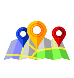 colorful markers pointer with paper road map gps vector image