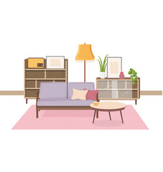 comfy interior of living room full of soviet vector image
