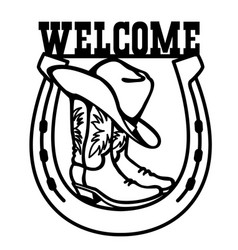 cowboy boots and western hat graphic black vector image