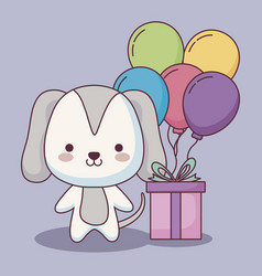 Cute dog happy birthday card with balloons helium vector