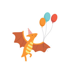 Cute pteranodon dinosaur in party hat flying ith vector