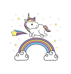 Cute unicorn with hair and rainbow design vector