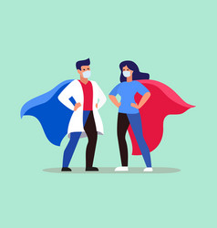 Doctors woman and man stand in heroes costume vector