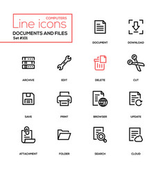 Documents and files - modern line design icons set vector
