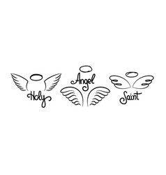 Doodle wings logo pair hand drawn angel wings vector