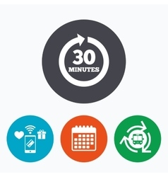 Every 30 minutes sign icon Full rotation arrow vector