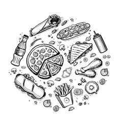 Fast food hand drawn vintage design vector