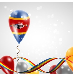Flag of Swaziland on balloon vector